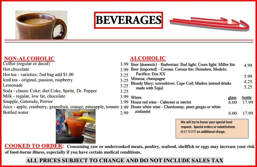 The Magnolia Grille's beverages menu