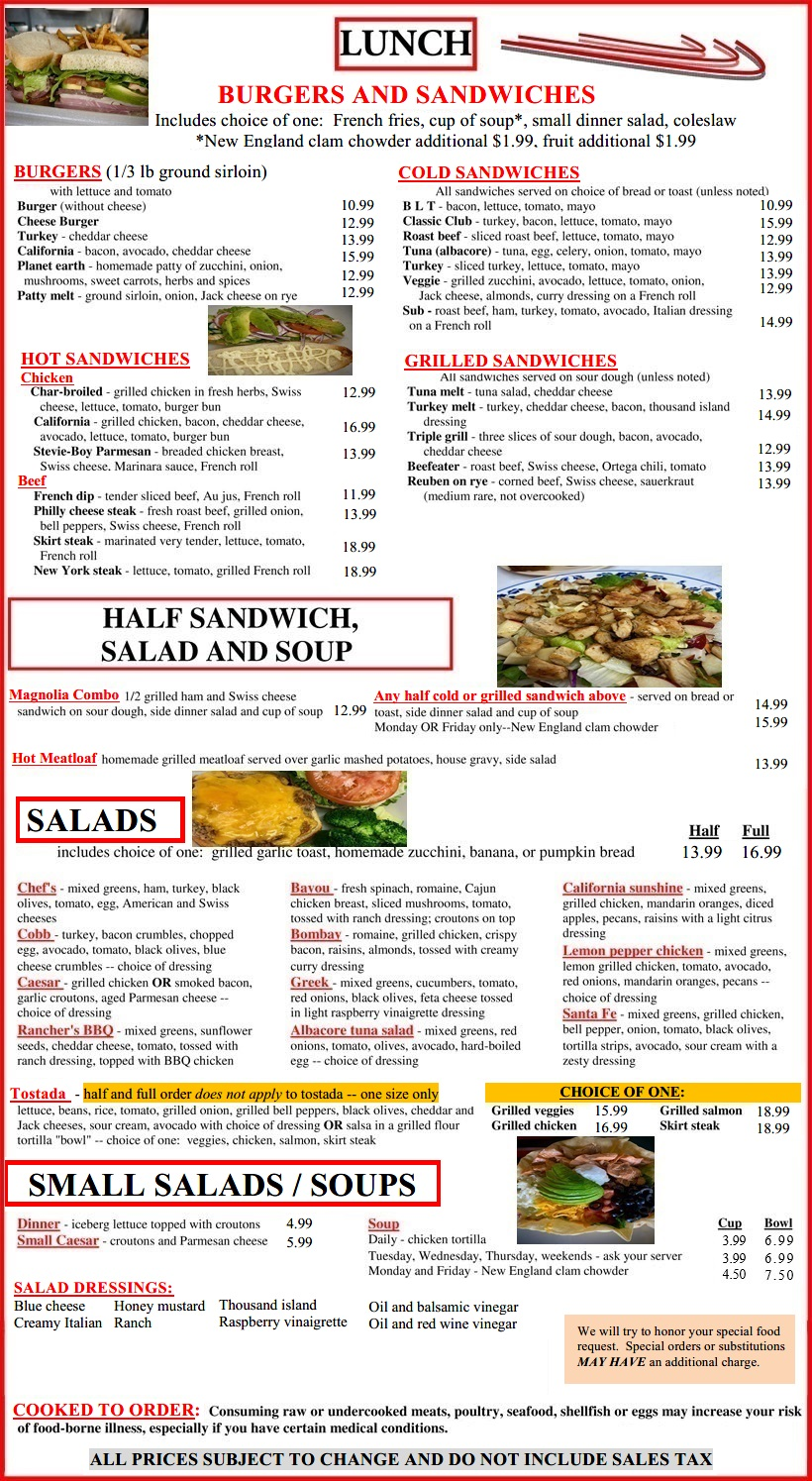 The Magnolia Grille's lunch menu